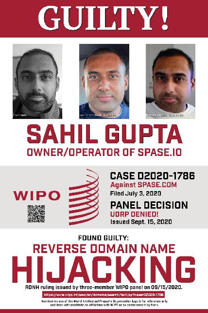 Sahil Gupta, Guilty of RDNH